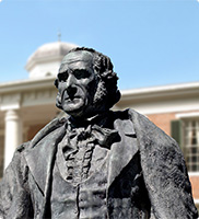 Sam Houston Statue on SHSU Huntsville campus in front of Austin Hall