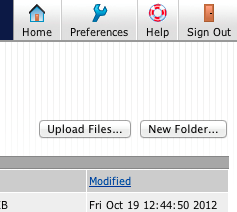 S:\ Drive files. Notice the Delete..., Download..., Upload Files…, and New Folder… Buttons near the top of the page.