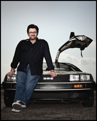 Author Ernest Cline of Ready Player One in a Delorean