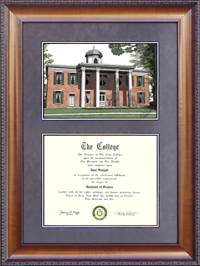 A photo of a diploma frame