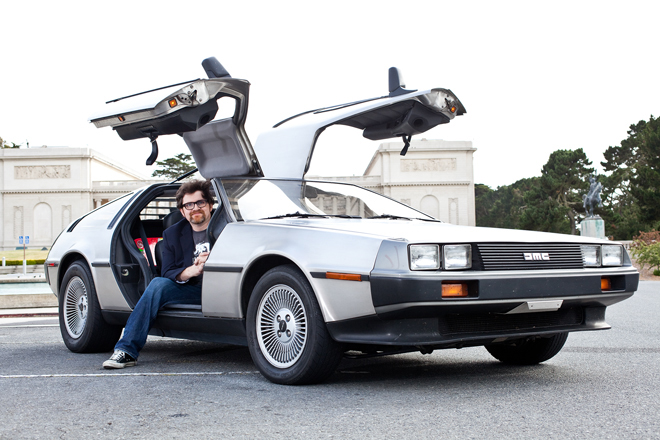 Author of Ready Player One Ernest Cline with a Delorean car
