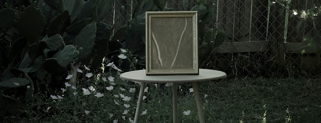 picture frame on small table outside