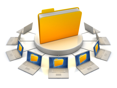 laptop computers networked to the same file folder