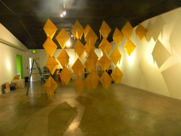 Hanging diamond shapes in the gallery