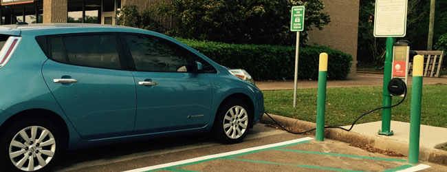 Have an electric car? Charge up over by UPD, 2424 S. Sam Houston Ave.