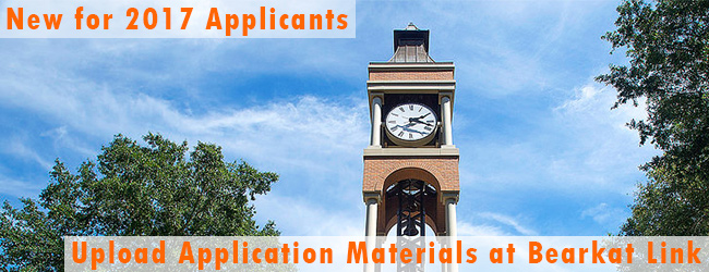 Picture of Clocktower with text saying New for 2017 applicants upload application materials at bearkat link