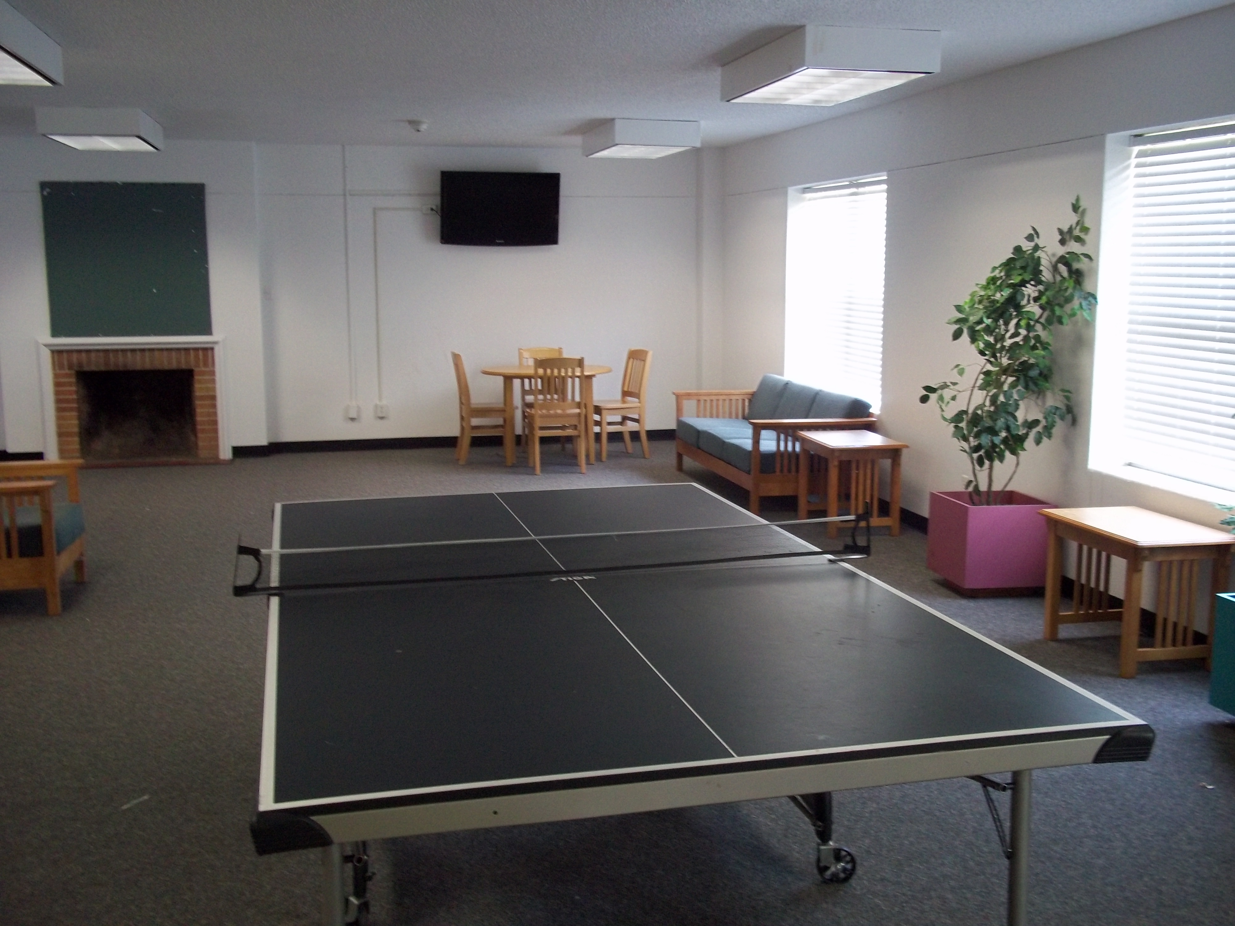 Ping pong table in common area.