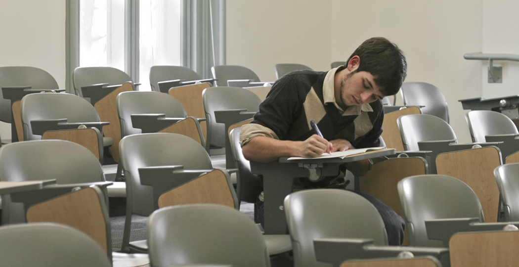 college student taking a test