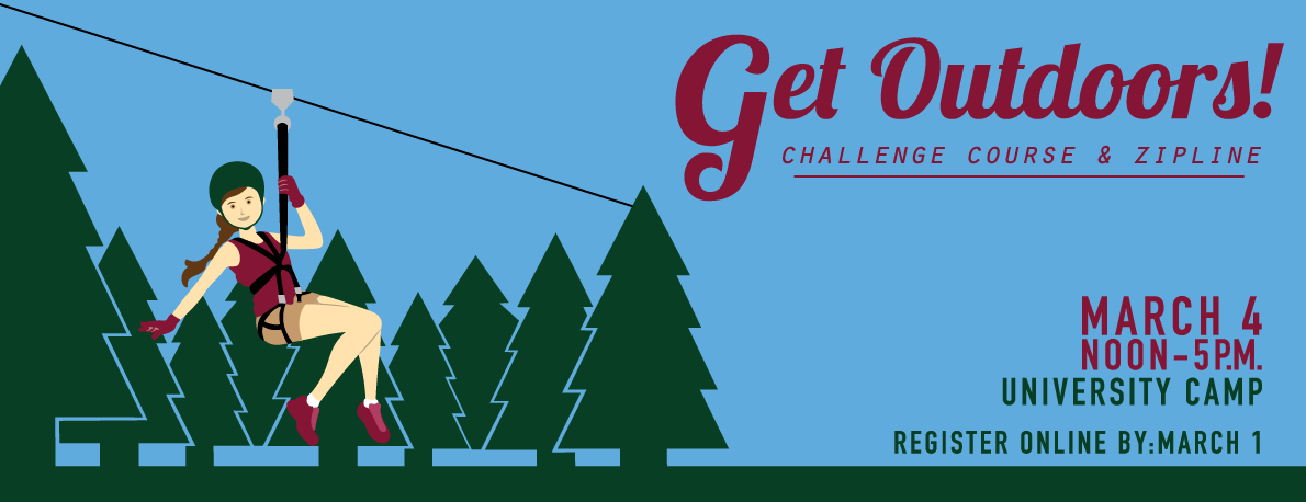 Challenge yourself to new heights on the high ropes challenge course and zip line by the lake at UCamp. March 1 from Noon - 5 p.m.