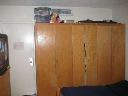 Closet in dorm room.