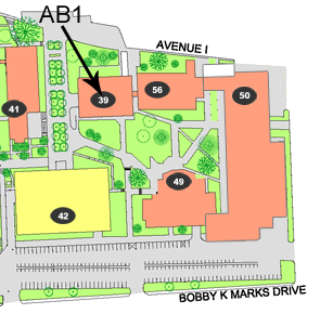 Map of Campus with arrow pointing to AB1.