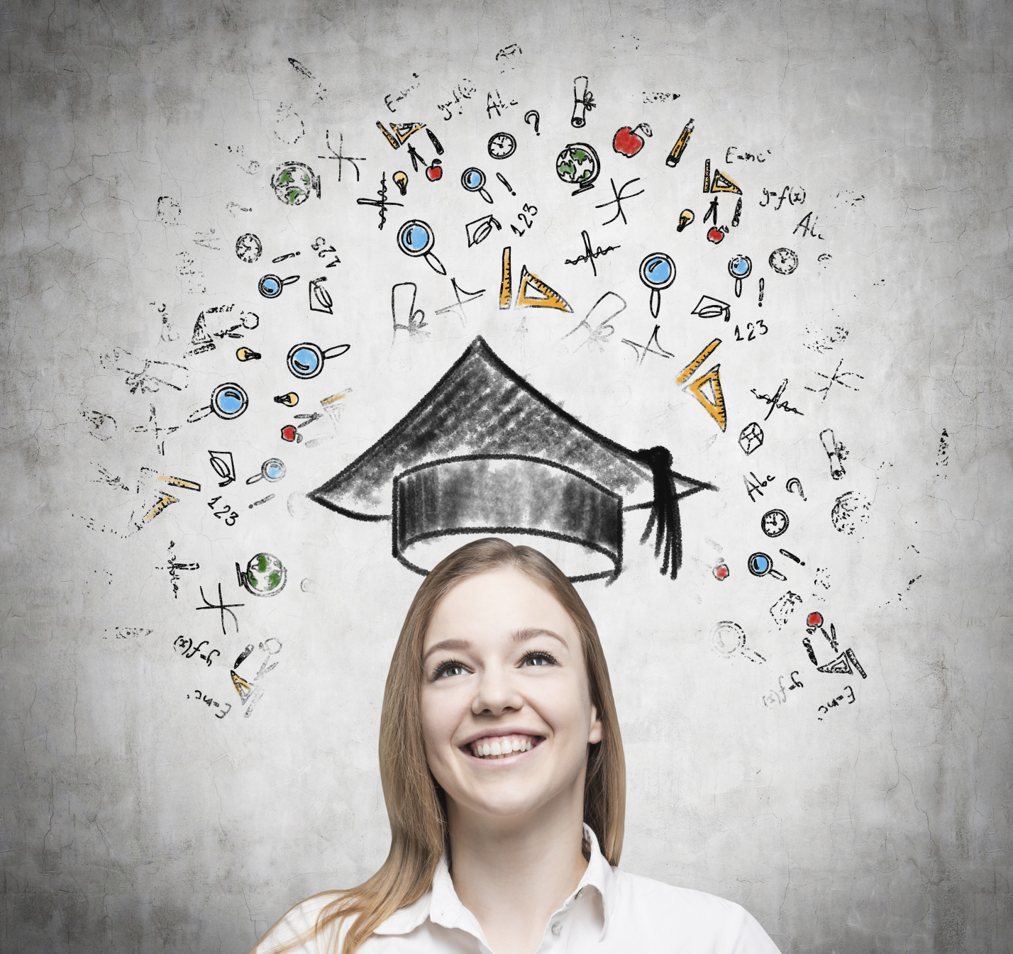 Student with an animated graduation cap above her head