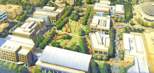 Aerial view of Campus Master Plan - Painting