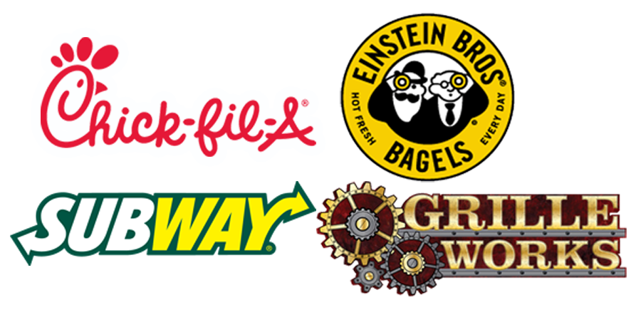Chich-fil-a logo Einstein Bros Bagels logo Subway logo and Grille Works logo