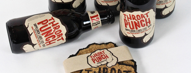 bottles with throat punch branding labels