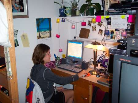 Student sitting at desk in room
