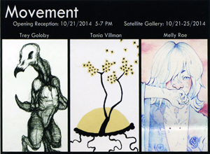 Movement Exhibit postcard for the Satellite gallery