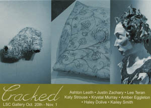 Cracked Exhibition Card with names, times and samples of art