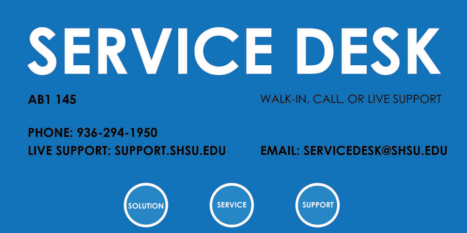 Service Desk Contact Information