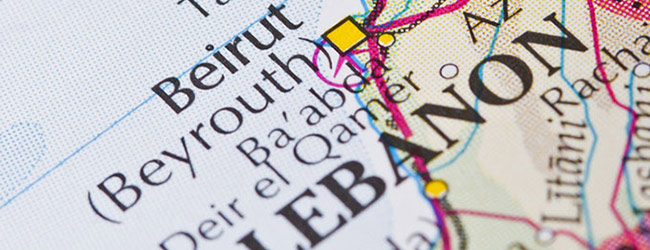 close up of a map of Beirut