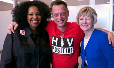Participants in the Knowledge is Power videos include HIV literacy advocate Rita Wiltz (left) and Scot More, who is living with HIV, shown with Dr. Ruth Massingill during a videotaping session