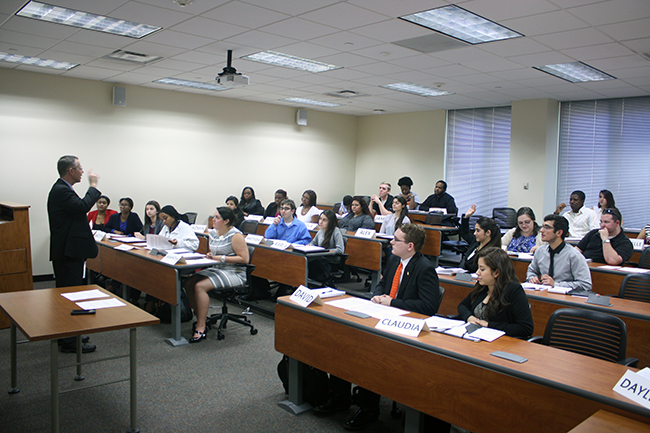 students attending the mock law class