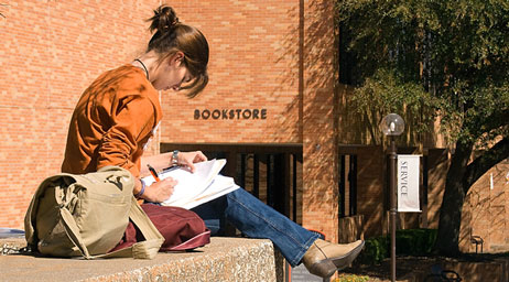 stduent reading outside of LSC