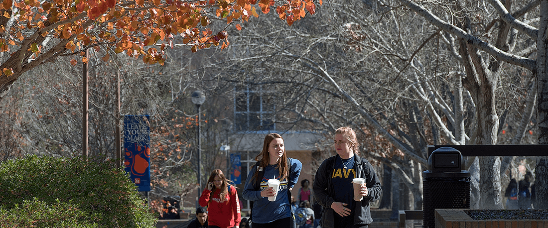 Students walking through campus.