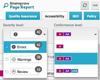 Siteimprove selection menus example