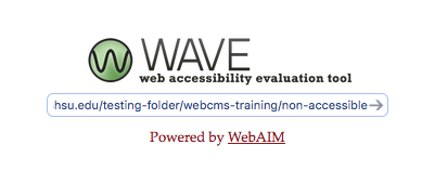 Example of pasting in a URL in the WAVE tool