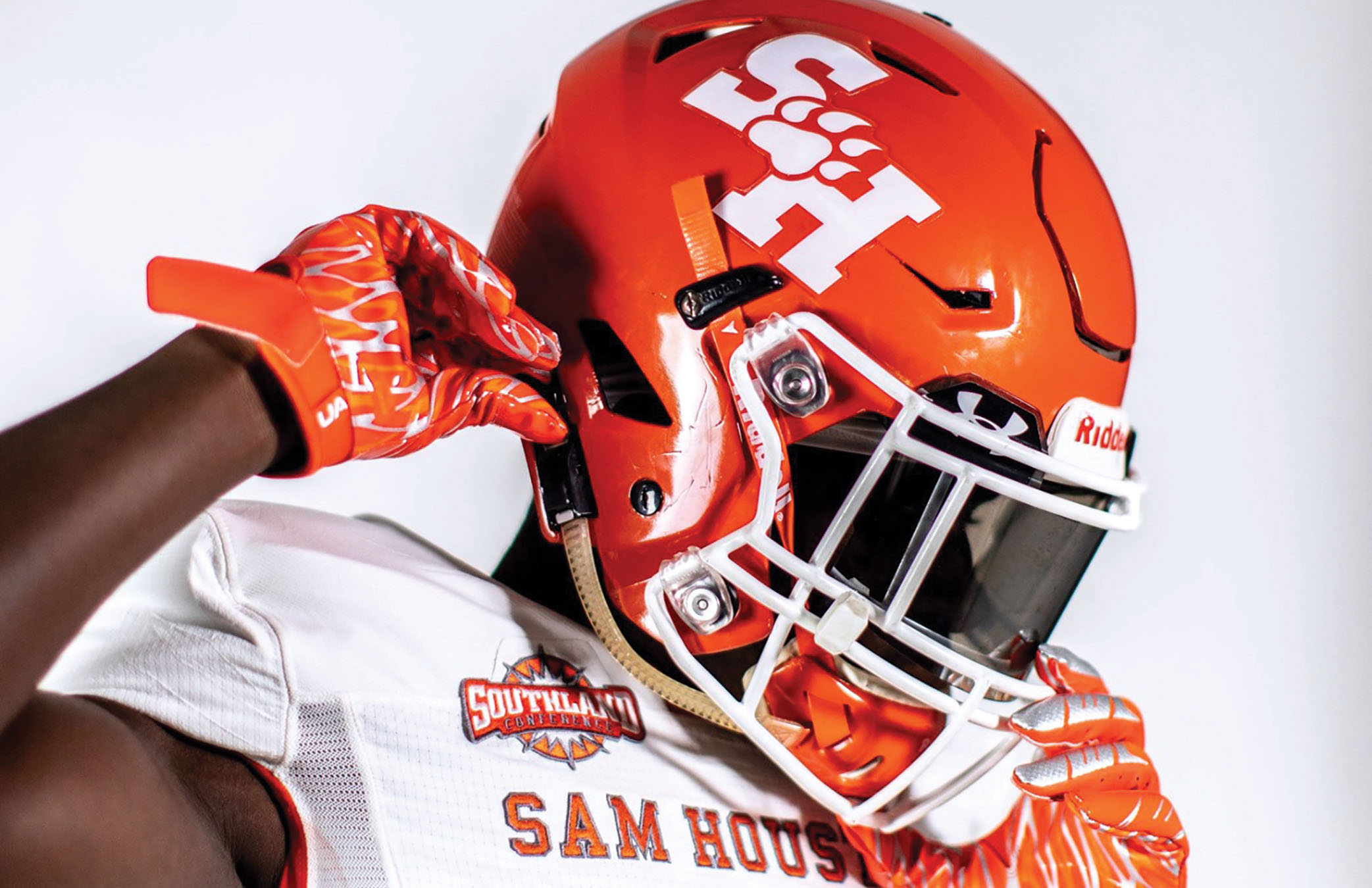 Football helmet with new SHSU Athletic logo
