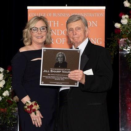 SHSU's Jill Sharp Vaughan and James B. Bexley at 2018 SHSU Texas Bankers Hall of Fame event.