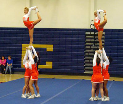 SHSU all-girl cheerleaders   Pretty Girl Cheer Stunt