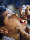 Child being vaccinated for polio